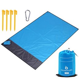 sand free mat 2019 - 140X200Cm Pocket Picnic Beach Mat Sand Free Blanket Waterproof Camping Outdoor Picknick Tent Folding Cover Bedding disco