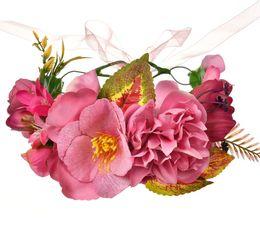 $enCountryForm.capitalKeyWord Australia - 2019 New children flowers crown big simulation flowers Girls ribbon tie princess garlands kids hand made rattan weaving wreath F3560