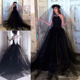 modern gothic wedding dresses Canada - Gothic Style Black Wedding Dresses Backless Tulle A Line 2019 Newest Vintage Design Sweep Train Bridal Gowns Custom Size