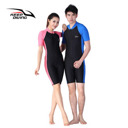 lycra diving suits NZ - Swim Wetsuits KEEP DIVING Lycra Wetsuit Stinger Wet Suits Diving Skin For Men Or Women One-piece Short Sleeve Jump Suit Swimsuit Swimwear