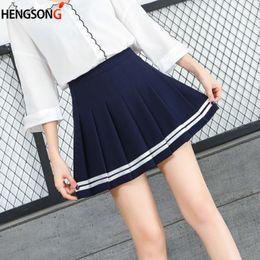 faaeb2e4cf Women Cute Elegant Skirt School Uniforms Striped Skirt For Students  Harajuku Style High Waist Pleated Skirts Girls