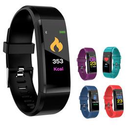 Venta al por mayor de ID115 Plus Pulsera Inteligente Rastreador de Fitness Banda de Ritmo Cardíaco Monitor de Presión Arterial Pulsera Inteligente Para Apple Color para iPhone Android