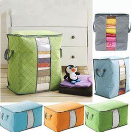 Clothe Bags Australia - 8 Color Cotton Quilt Storage Bag Bamboo Charcoal Clothing Storage Bag Large Capacity Non-woven Handbags Clothes Box