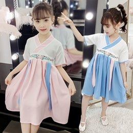 Fairy Style Dresses UK - 2019 New Performance Clothes Chinese Style Children's Clothes Fairy Clothes Girl Hanfu Princess Skirt Dress