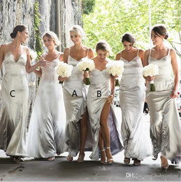 silver gray silk bridesmaid dresses UK - Latest Silver Split Bridesmaids Dresses For Western Weddings 2019 Sexy Sweetheart Backless Long Wedding Guest Party Gowns Cheap