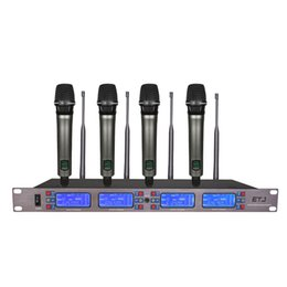 wireless microphone channels Australia - ETJ ET-4000 100 Channel Cordless Wireless Microphones System UHF Karaoke System four handheld or bodypack Stage home party