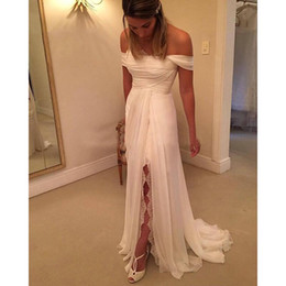 $enCountryForm.capitalKeyWord Australia - Exquisite Off The Shoulder Wedding Dresses With Split 30D Chiffon Corset Bridal Dresses Backless Wedding Gowns