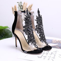 Wholesale US4 Women Rhinestones Crystal Bling Clear Transparent Ankle Cut Out Sandal Stilettos High Heel Shoes Plus Size Gladiator A263
