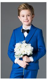 Handsome Kids Suits Australia - Handsome One Button Peak Lapel Kid Complete Designer Handsome Boy Wedding Suit Boys' Attire Custom-made (Jacket+Pants+Tie+Vest) A17