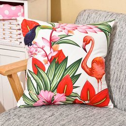 $enCountryForm.capitalKeyWord Australia - Watercolor Red Flower Soft Cushion Cover Parrot Flamingo Birds Pillow Cover 45X45cm Bedroom Sofa Chair Decoration