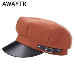 443649d7a51f1 wholesale Fashion Black High Quality Newsboy Caps for Women British Style  Warm Retro Military Octagonal Cap Female Visor Caps