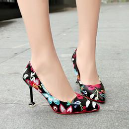 Black Floral Print Heels Australia - Dress Women Pumps High Heels 9cm Floral Printing Shallow Slip On Ladies Shoes Pointed Toe Office Shoes Female Fashion Female Footwear