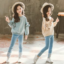 Denims Shirts For Girls Australia - Fashion Girls Clothes 2019 Clothing For Girls Kids Clothes Girls 8 10 12 14 Years Teen Clothes Solid Shirt + Denim Pants 2 Pcs Y190518