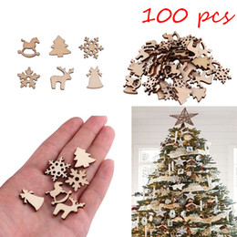 Christmas Ornament For Tree Australia - 100Pcs Natural Wooden DIY Christmas Tree Hanging Ornaments Pendant Snowflake Deer New Year Decor Christmas Decorations For Home