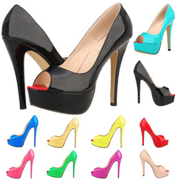 Red Bottoms Ladies Shoes Australia - 14 Colors Women Fashion Patent Leather Peep Toes Party Red Bottoms Heels Ladies European Thin Heels Pumps Dress Shoes US 4-11 D0245