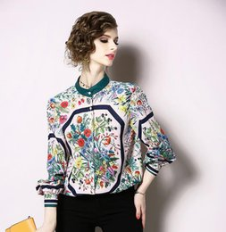 Long Collar Shirts For Girl Australia - stand collar flora printed long sleeve girl shirts with single breasted women blouse shirt Contrast Color ladies shirts for sale