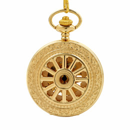 China CKKU Jewelry Golden Case Pocket Watch Wheel Mechanical Roman Numerals with 15 Inch Chain for Men Boys Gift LPW774 cheap pocket watch case roman numerals suppliers