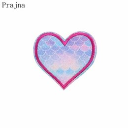 $enCountryForm.capitalKeyWord Australia - Prajna Shine Heart Embroidered Iron On Patches For Kids Clothing Fish Scales Patch Stickers On Clothes Applique Decoration