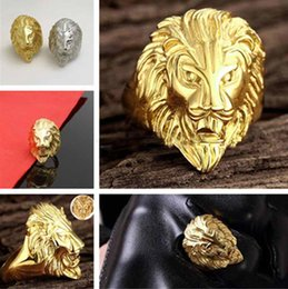 $enCountryForm.capitalKeyWord NZ - New Fashion Gold and Silver Colors Classic Men's Punk Style Hip Hop Ring Lion Head males man Finger rings for men women Size 7-15