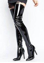 $enCountryForm.capitalKeyWord NZ - Patent Leather Woman Pointed Toe Shine Model Catwalk Sexy Paint Boots Street Shooting Nightclub Dance Shoes Pointed High Heel Zipper Women's