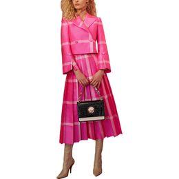 $enCountryForm.capitalKeyWord UK - 2018 Fashion Women Spring Runway Outfit Turn -down Collar Blouse Plywood Striped Skirt Plus Size Xxxl Twin Set Pink 2 Piece Set Y19071301
