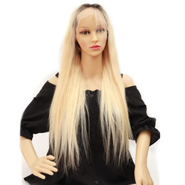 long straight dark brown wigs Australia - Unprocessed soft new remy virgin human hair dark root #613 long natural straight full lace silk top wig for women