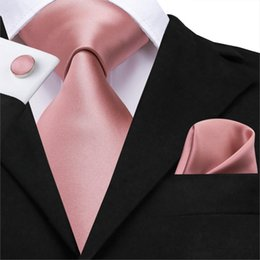 cufflink knots UK - Hi-Tie 100% Silk Classic Men's Wedding Coral Pink Red Peach Tie Pocket Square Cufflinks Set Rose Ties for Men Solid Paisley Ties