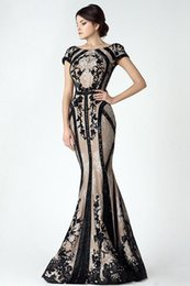 $enCountryForm.capitalKeyWord Australia - Vintage Black Champagne Mermaid Mother Of The Bride Dresses Sleeve 2019 Sheer Back Lace Appliques Arabic Evening Party Gowns