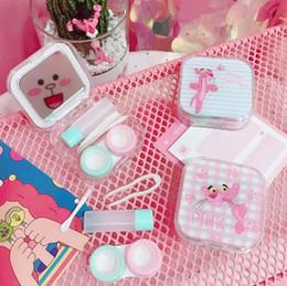 Cute Lenses Case Australia - Cartoon cute pink leopard contact lens case double box student portable contact lens storage box creative fashion home storage