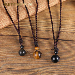 $enCountryForm.capitalKeyWord Australia - 14mm-18mm Fashion Natural Black Slate Tiger Eye Stone Vintage Beads Pendant Necklace For Women Wen Handmade Rope Chain Necklace Jewelry
