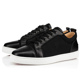 Wholesale denim models for sale - Group buy Brand Iconic model Junior Orlato Spikes Men Flats Red Bottom Shoes Black Calfskin Black Woven Mesh Men s Low Top Sneakers Red Sole Factory