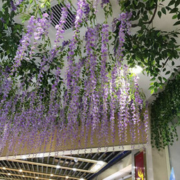 Wholesale 1 m Long Artificial Silk Flowers Wisteria Vine Rattan Fake Flower Table Centerpieces Wedding Decorations Garden Home Flower Wall WIS