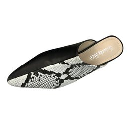 Discount snakes skin pointed shoes - SAGACE Sexy Women Snake Skin Pattern Pointed Toe Shoes 2019 Simple Fashion Platform Sandals Flats Slippers Summer Slippe