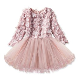 $enCountryForm.capitalKeyWord Australia - Princess Girl dress Baby Flower boutique patchwork dress Toddler Long sleeve Party Birthday Custume Summer Autumn Ball Gown