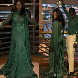 cheap sheer top prom dress Australia - Dark Green Mermaid Prom Dresses With Cape Sleeves Top Lace High Neck Sheer Back Special Occasion 2019 Cheap Formal Evening Gown South Africa