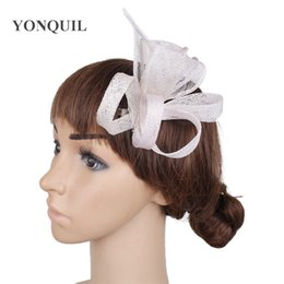Discount cocktail party hair accessories Wedding occasion bride elehgant hair fascinator accessories hair clip sinamay party dinner headwear cocktail race headdr