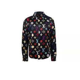 Wholesale european geometric pattern dress for sale – plus size New European and American style designer shirt color pattern printing Slim men s casual shirt ladies Medusa dress shirt