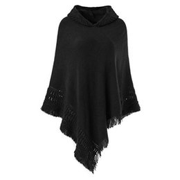 $enCountryForm.capitalKeyWord Australia - Autumn tassel scarf pashmina Cardigans Tops Women Casual Loose Long Irregular Hem Tassel Cardigan Cape Poncho Black