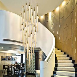 Rustic Lighting Kitchen Australia - Luxury modern led large staircase crystal chandelier long water drop lighting fixtures kitchen island restaurant luces led decoracion