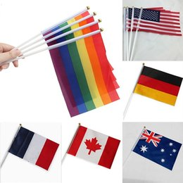 Discount hand waving flags - 14*21cm Rainbow Flags 12 Design National Flag For World Polyester Hand Waving Flags Banners Home Decoration XD20031