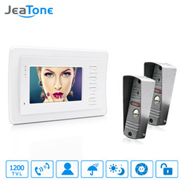 wired door doorbell Australia - JeaTone 4'' Wired Video Door Phone Video Door Bell Intercom kit IR Night Vision Camera Doorbell 1 Waterproof Camera with 2 White Monitors