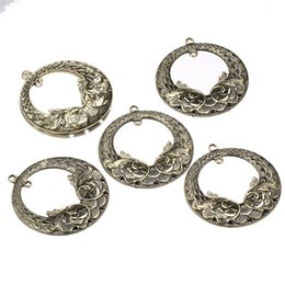 Wholesale 10Pcs Alloy Round Charms Flower Basket Pendants Flower Charms For Diy Necklace Pendants Jewelry Making