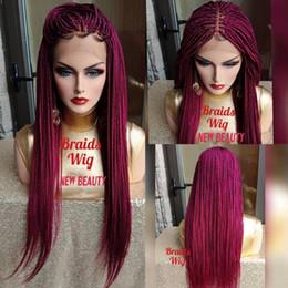 Ingrosso Hotselling africa donne stile Jumbo trecce parrucca anteriore del merletto parrucca sintetica parrucca treccia rosa rosso crochet treccia parrucca linea sottile naturale