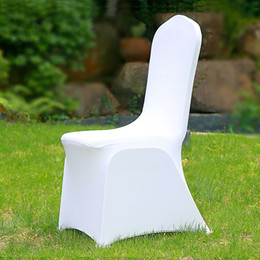 $enCountryForm.capitalKeyWord Australia - 100pcs Universal Cheap Hotel White Chair Cover office Lycra Spandex Chair Covers for Weddings Party Dining Christmas Event Decor
