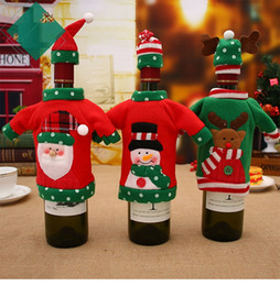 wholesale red hat clothing NZ - 1Set Cute Red Wine Bottle Cover Bags Santa Claus Dinner Table Decoration Clothes With Hats Home Party Decor Christmas Decoration