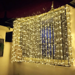 Wall Curtains UK - 6*2M 6*3M 6*4M 6*5M Curtain Lights LED String Fairy String Lights for Wedding Party Home Garden Indoor Outdoor Wall Backdrops Decorations