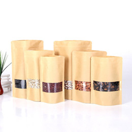 free kraft paper Australia - Hot 50pcs lot Brown Kraft Paper Standup Zipper Bags Ziplock Gift Packaging Bags With Window Foods Candy Coffee Bag Free Shipping
