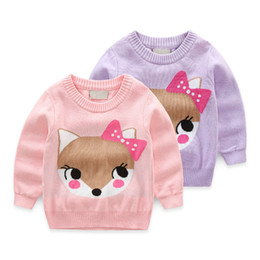 $enCountryForm.capitalKeyWord Australia - Baby Girls Sweaters Winter 2019 New Girl Long Sleeve Knitted Clothes Kids Autumn Cartoon Fox Bow Pattern Sweater for Girls
