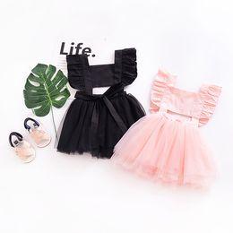 $enCountryForm.capitalKeyWord Australia - Cute Backless Baby girl dress Tutu dresses Kids clothes Ruffles Sleeve Bow Cross Soft Tulle Boutique girl clothing Summer Pink Black B11