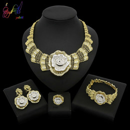 indian gift boxes NZ - Yulaili Fashion Dubai Gold Bride Wedding Jewelry Sets Africa Big Flower Crystal Necklace Bracelet Earrings Ring Free Gift Box